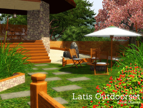 Sims 3 — Latis Outdoor by Angela — Latis Outdoor, Set contains, 3 fences which are recolourable, in 2 parts, Umbrella,