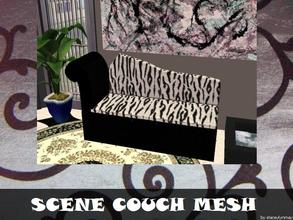Sims 2 — Scene Couch - Mesh by staceylynmay2 — Black and white zebra print couch Mesh.