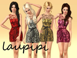 Sims 3 — Emma Stone 2011 Dress by laupipi2 — Emma Stone's lace recolorable dress. 3 Recolorable channels