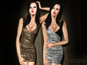 Sims 3 — Paprika Party Dress by saliwa — Sequin Party Dress for your sims.