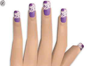 Sims 2 — Nails 27 by zodapop — Purple nails with white lace print. Can be found under head accessories.