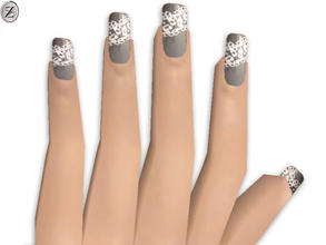 Sims 2 — Nails 28 by zodapop — Grey nails with white lace print.