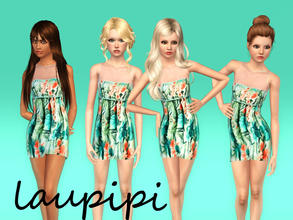 Sims 3 — Flower Teen Dress - not recolorable by laupipi2 — New floral not recolorable dress with a blue belt for teens!!
