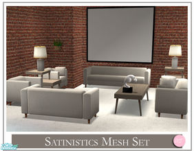 Sims 2 — Satinistics Mesh Set by DOT — Satinistics, Sofa, Chair, Chair with pillow, LoveSeat with pillow. All to match