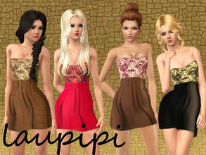 Sims 3 — Ivy Dress by laupipi2 — New recolorable dress with three recolorable channels
