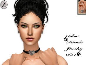 Sims 2 — Feline Friends Jewelry Set 1  by zodapop — Faux crocskin leather choker with metallic Persian cat pendant and