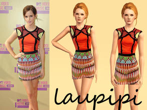 Sims 3 — Emma Watson Dress by laupipi2 — New not recolorable dress. Credit to: Simstaplease