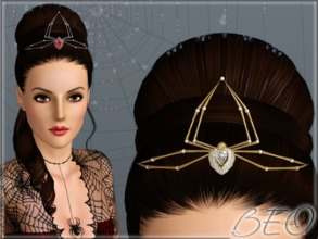 Sims 3 — Spider  tiara by BEO — Tiara in the form of a spider in 4 variants. Recolorable 3 canals.