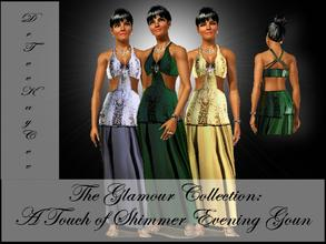 Sims 3 — The Glamour Collection: A Touch of Shimmer Gown by drteekaycee — This gown with symmetrical cuts is a shimmering