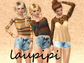 Sims 3 — Autumm Set Part 2 by laupipi2 — Two not recolorable jumpers And a new lace t-shirt