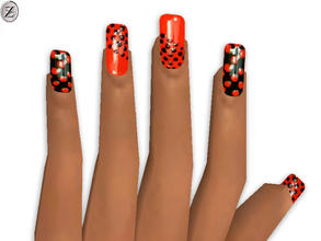 Sims 2 — Nails 30 by zodapop — Red and black spotted nails. Can be found under head accessories.