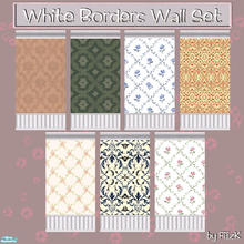 Sims 2 — White Borders Wall Set by filizk — Modified Maxis wall with white borders in 7 different textures.