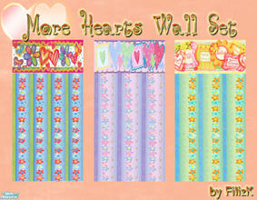 Sims 2 — More Hearts Wall Set by filizk — More hearts for your sim girls in 3 very very fun colors.