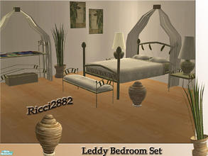 Sims 2 — Leddy Bedroom Set by TheNumbersWoman — This is a new Mesh set based on The tropical way of life. Collection File