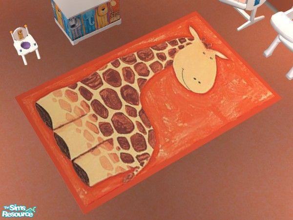 Jungle Creatures Nursery Giraffe Rug