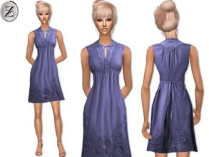 Sims 2 — 2012 Fashion Collection Part 38  by zodapop — Periwinkle blue dress with crochet lace along the buttoned bib