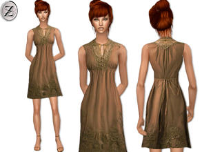 Sims 2 — 2012 Fashion Collection Part 39 by zodapop — Olive brown dress with crochet lace along the buttoned bib collar