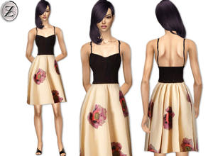 Sims 2 — 2012 Fashion Collection Part 40 by zodapop — Black and cream dress with floral print.