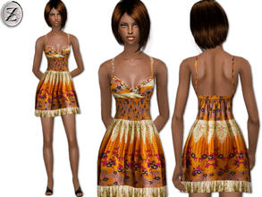 Sims 2 — 2012 Fashion Collection Part 42 by zodapop — Short multicolored print dress.