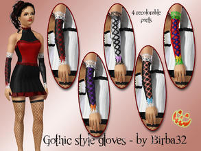 Sims 3 — Happy Halloween - Gothic gloves with ribbon by Birba32 — A pair of gloves in gothic style but with the addition