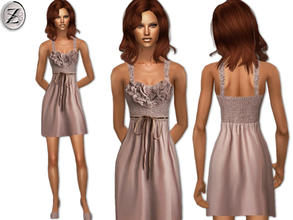 Sims 2 — 2012 Fashion Collection Part 43 by zodapop — Mauve cotton-blend dress with ruffled crochet bodice.