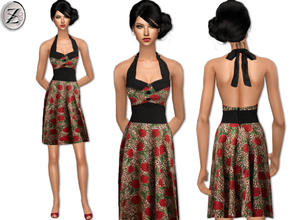 Sims 2 — 2012 Fashion Collection Part 45 by zodapop — Vintage inspired leopard and rose print halter dress with a trimmed