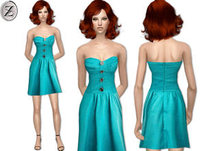 Sims 2 — 2012 Fashion Collection Part 46 by zodapop — Strapless, satin, dotted blue dress with bustier top embellished