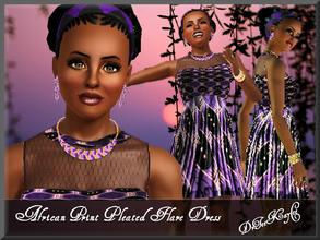 Sims 3 — African Print Pleated Flare Dress by drteekaycee — This outfit is a cultured specific dress. Get a taste of