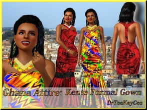 Sims 3 — Ghana Attire: Kente Gown by drteekaycee — This West African inspired gown has a cultural specific material.