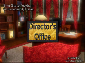 Sims 3 — Directors Office Sign by Cerulean Talon — Someone has to be in charge of this insane asylum. Gold background
