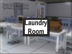 Sims 3 — Laundry Room Sign by Cerulean Talon — Clean clothes are an essential when there could be blood involved. White