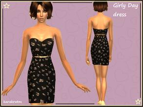 Sims 2 — Day dress by karakratm — Pretty day dress for your girly sims. Gold belt detail and nude heels for added