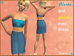 Sims 2 — Blue and gold Dress by karakratm — Short dress with different shades of blues throughout and a gold belt that
