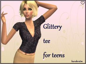 Sims 2 — Glitter top for teens by karakratm — Pretty dark glittery top for your teens to wear to parties or just want to