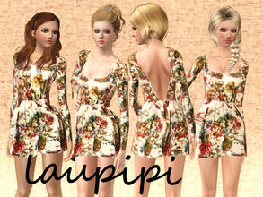 Sims 3 — Fall Dress by laupipi2 — New printed not recolorable dress!
