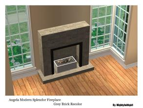 Sims 2 — MFG AMV Modern Splendor Fireplace RC- GreyBrick by mightyfaithgirl — Grey Brick recolor of Angela\'s Modern