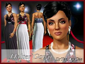 Sims 3 — Halter Gown by drteekaycee — This is a formal halter gown for those romantic evenings. The top is made with a