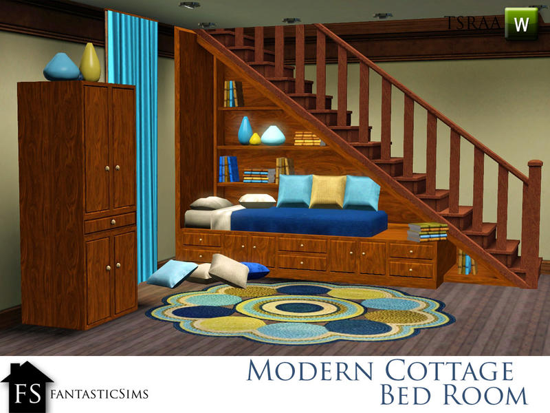Fantasticsims 39 Modern Cottage Understairs Bed Cubby Right