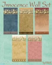 Sims 2 — Innocence Wall Set by filizk — Charming wallpapers in various soft colors to decorate with style and elegance.