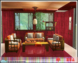 Sims 2 — Hua by huabanzhu — Chinese style living room set,7 new meshs.