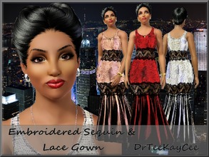 Sims 3 — Embroidered Sequin Lace Gown by drteekaycee — This outfit will add a stunning look to your sims wardrobe! It is
