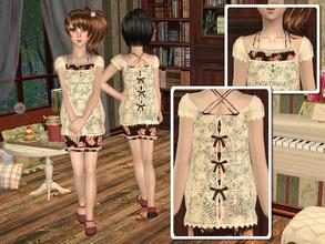 Sims 2 — Lace Blouse with Flounce Dress by angelkurama — Lace Blouse with Flounce Dress