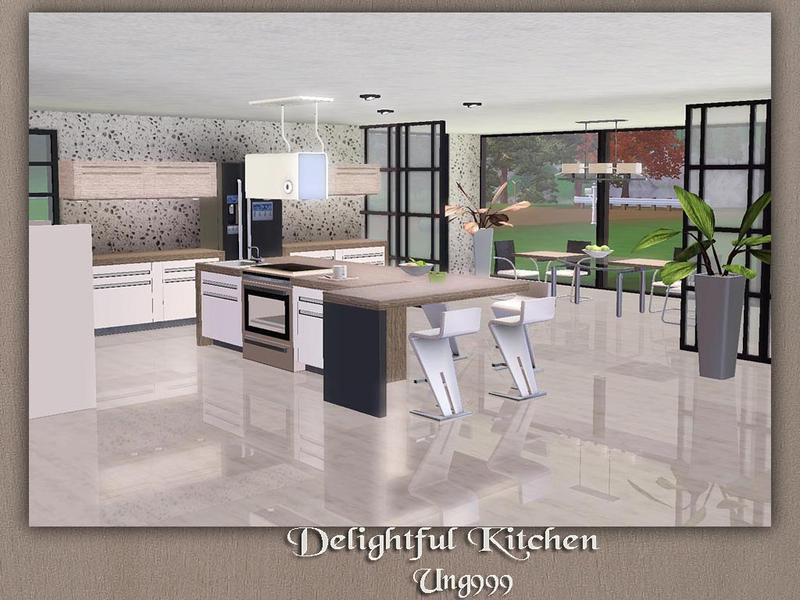 Ung999 39 s delightful kitchen and dining for Kitchen set sims 4