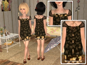 Sims 2 — Lace Blouse with Flounce Dress -Black by angelkurama — Lace Blouse with Flounce Dress -Black