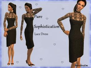Sims 2 — Black lace lbd by karakratm — Pretty lace little black dress with lace sleeves with white detailing on the
