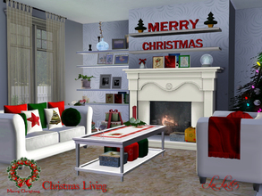 Sims 3 — Christmas Living  2012 by Lulu265 — Bright and cheerful, a glowing fire and presents under the tree, gives that