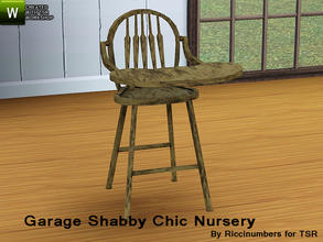 Sims 3 — Garage Shabby Chic Nursery High Chair by TheNumbersWoman — Distressed and Cheapo Furniture. Plastering your game