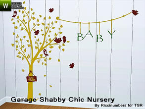 Sims 3 — Garage Shabby Chic Nursery Decal by TheNumbersWoman — Distressed and Cheapo Furniture. Plastering your game with