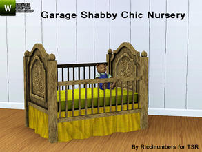 Sims 3 — Garage Shabby Chic Nursery Crib by TheNumbersWoman — Distressed and Cheapo Furniture. Plastering your game with