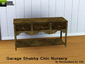 Sims 3 — Garage Shabby Chic Nursery Dressing Table by TheNumbersWoman — Distressed and Cheapo Furniture. Plastering your
